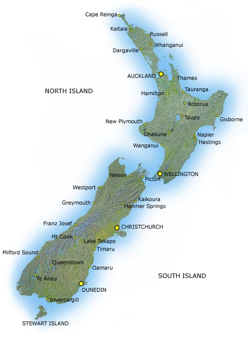 Terrain map of New Zealand